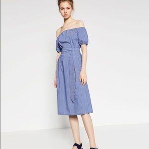 Zara Striped Off Shoulder Midi Dress